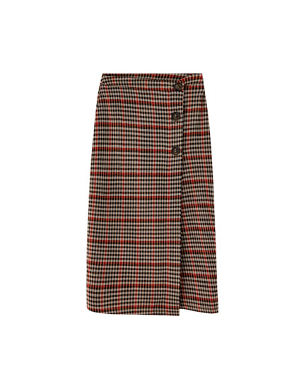 Checked midi skirt with buttons
