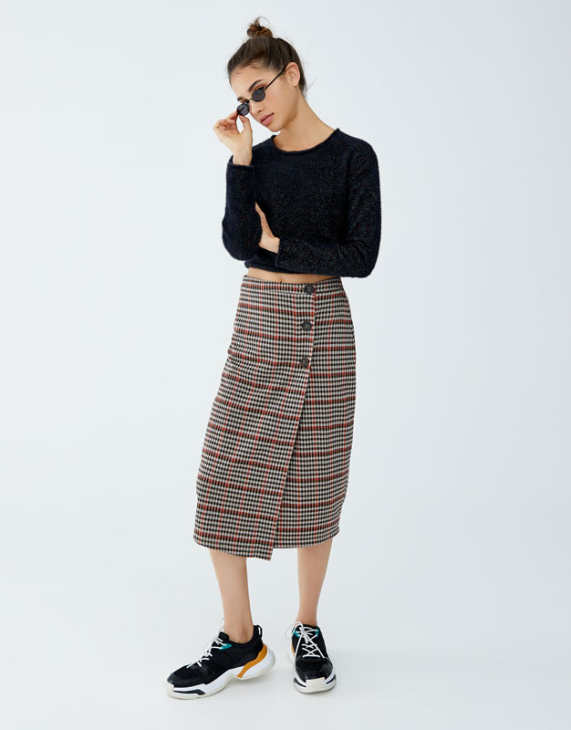 Checked Midi Skirt With Buttons by Pull & Bear