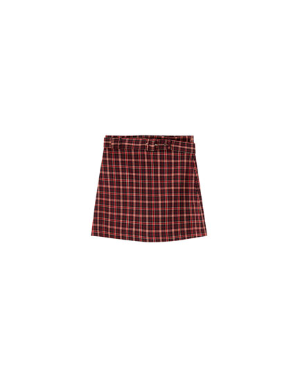 Purple check mini skirt