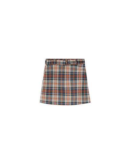 Turquoise check mini skirt