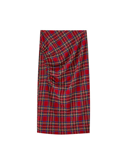 Gathered tartan check skirt