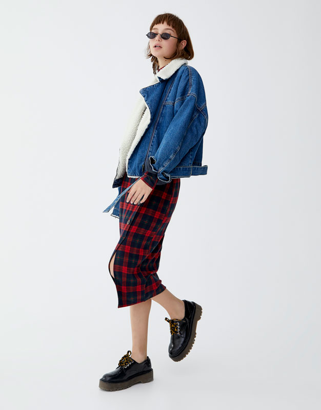 color atractivo disfruta de un gran descuento mejores ofertas en Falda midi de cuadros con botones