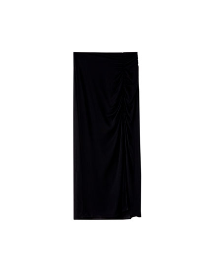 Midi skirt with slit and gathering