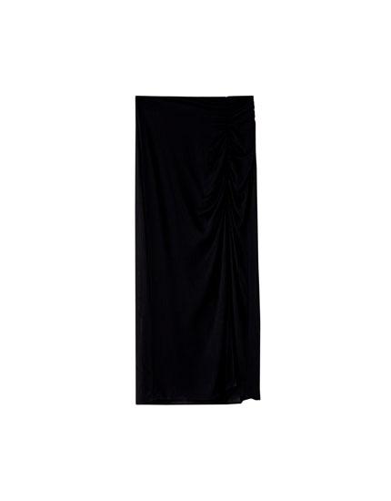Midi-nederdel med rynket slids