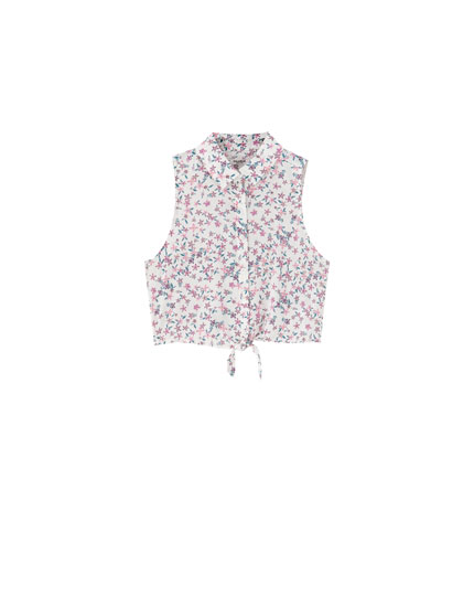 Sleeveless floral print shirt with knot