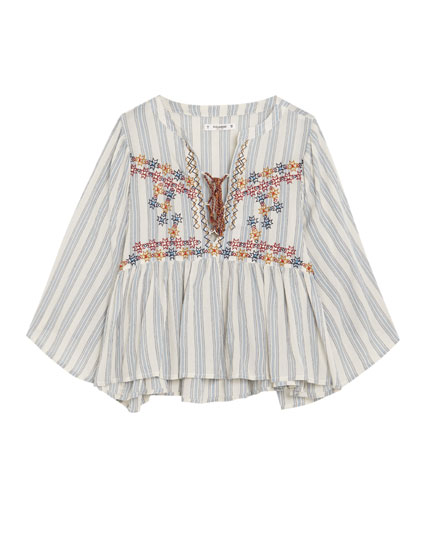 Embroidered wide sleeve blouse