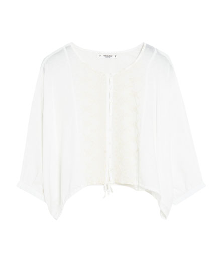 Batwing sleeve lace top