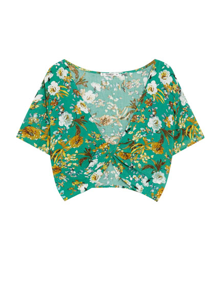 Printed top with wrap front