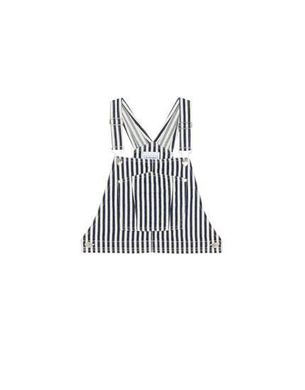 Striped denim pinafore dress