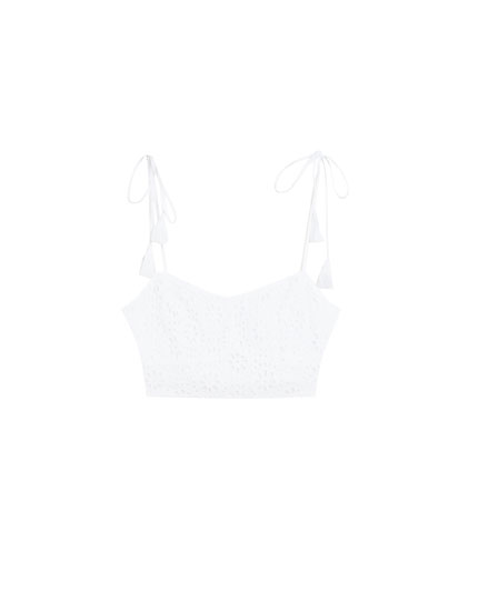 Crop top with tasselled straps