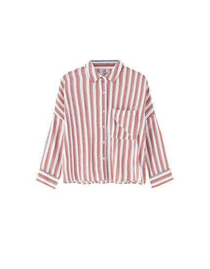 Kontrast çizgili basic gömlek