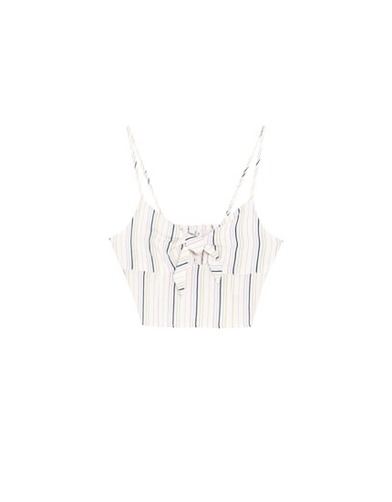 Striped crop top with front knot