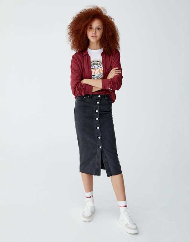 Μονόχρωμο μακρυμάνικο πουκάμισο by Pull & Bear