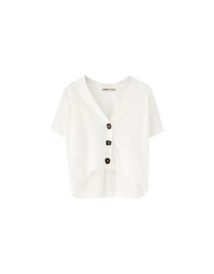 V-neck top with buttons