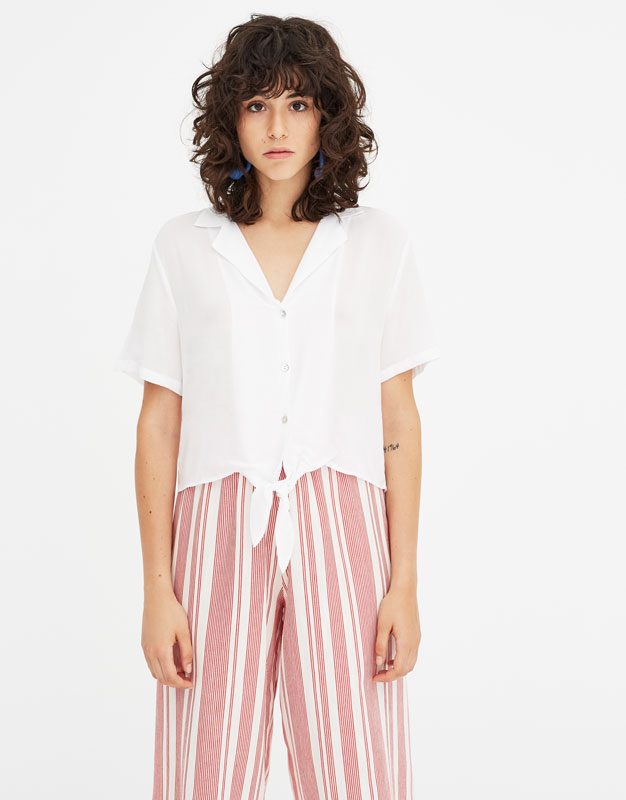 Pull & Bear - Shirt with lapel collar and knot - 5