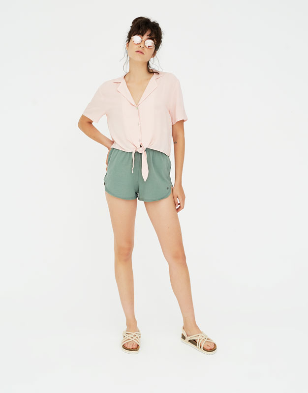 Pull & Bear - Shirt with lapel collar and knot - 2