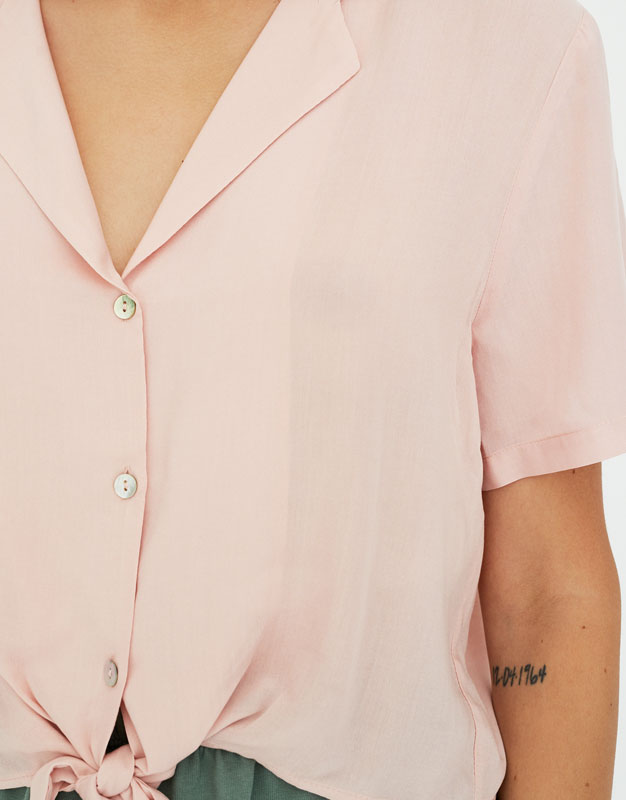 Pull & Bear - Shirt with lapel collar and knot - 3