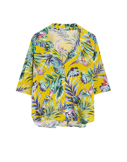 Camisa tropical cuello solapa