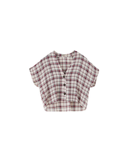 Checked V-neck top