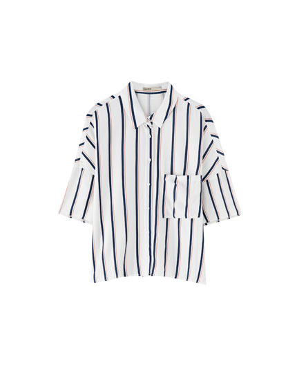 Basic striped print shirt