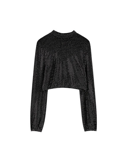 Sparkly puff sleeve top with high neck