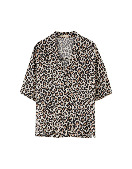 Leopard print shirt with lapel collar