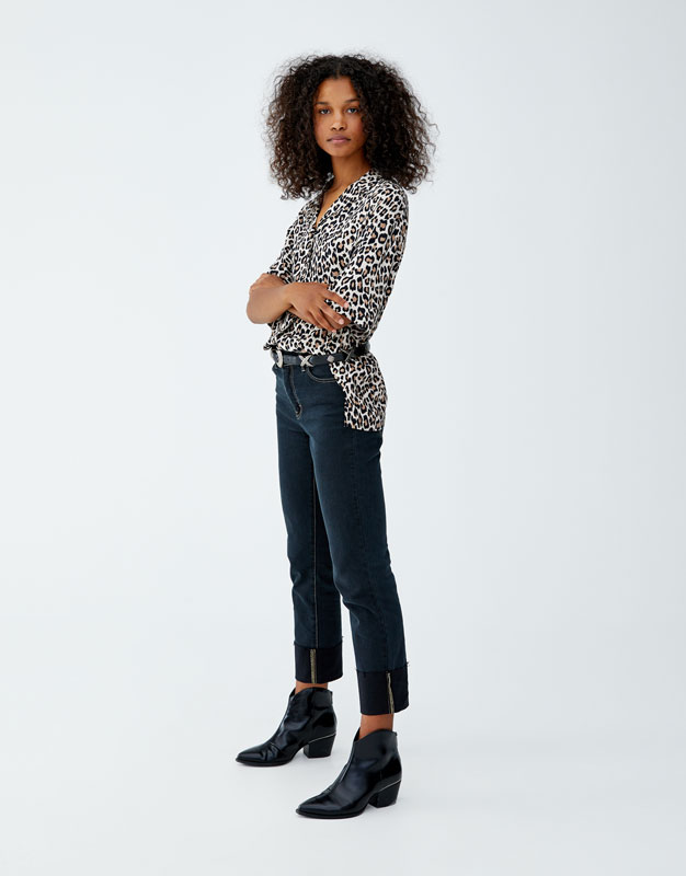 Leopard Print Shirt With Lapel Collar by Pull & Bear