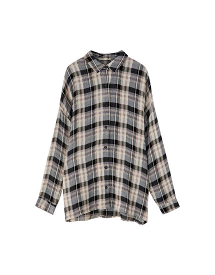 Join Life oversized checked shirt