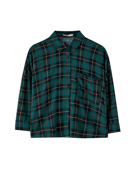 Basic checked shirt with 3/4 sleeves