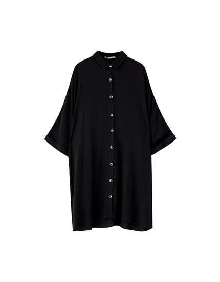 Black button-up shirt dress