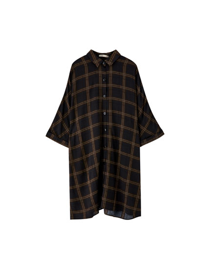 Checked button-up shirt dress
