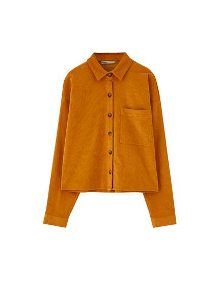 Corduroy shirt with pocket