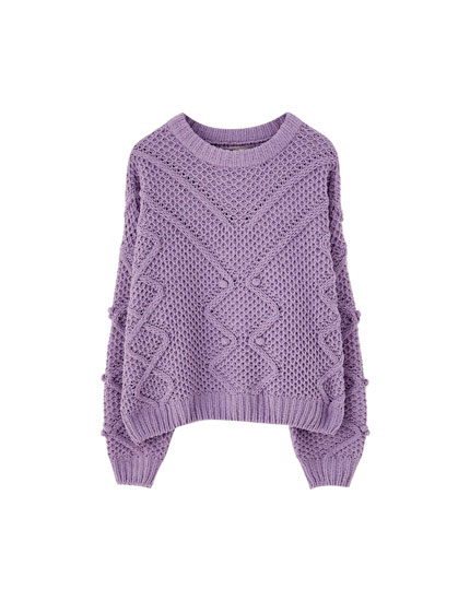 Embroidered ball chenille sweater