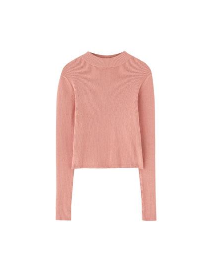 Sweater cuello perkins canalé