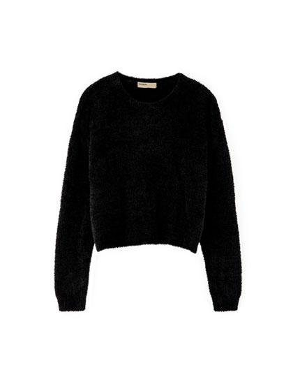 Cropped-Pullover aus Kunstfell