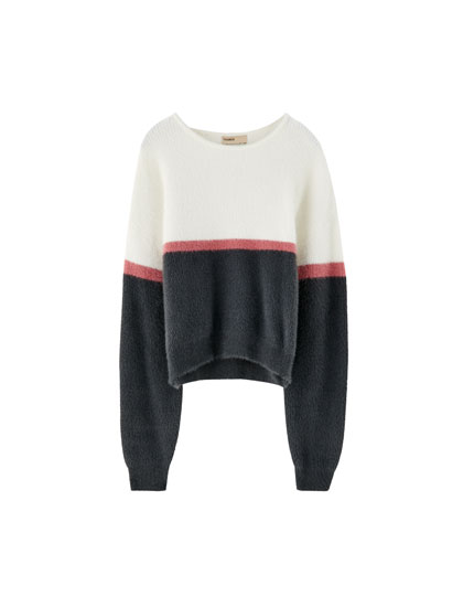 Faux fur colour block sweater