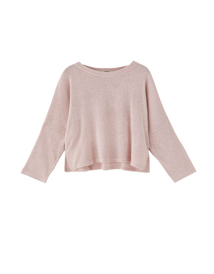 Sweater with shoulder slits