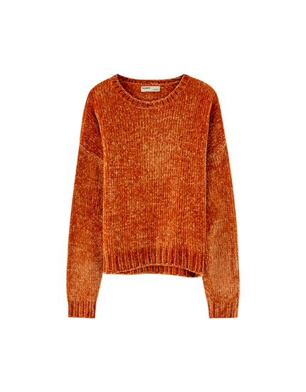 Pull chenille col rond