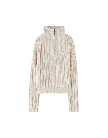Zipped high neck chenille sweater