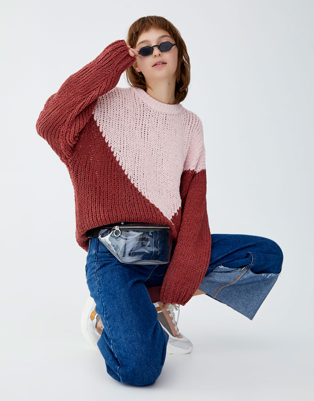 Pulover Din Chenille Color Block by Pull & Bear