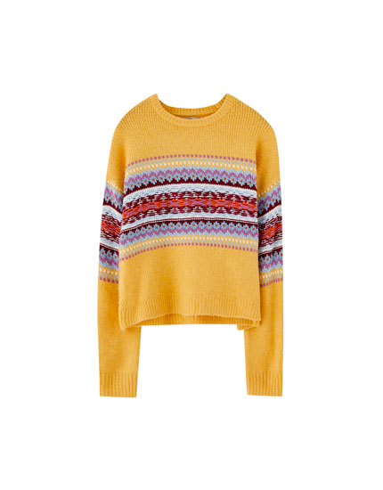 Jacquard sweater with multicoloured panel