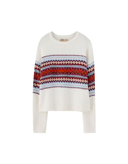 Jacquard panel sweater
