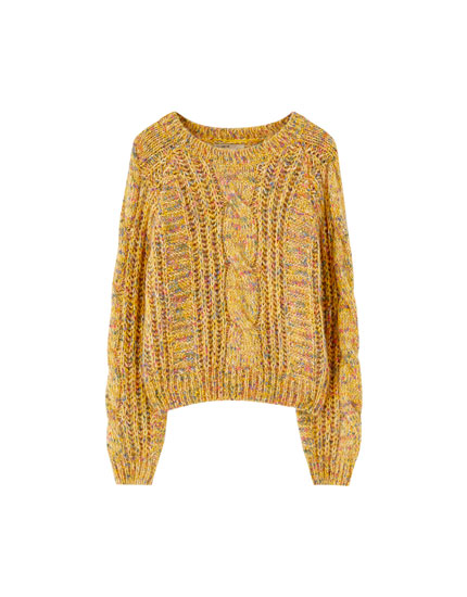 Multicoloured cable knit sweater