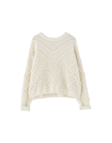 Embellished chenille sweater