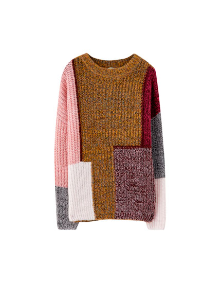 Soft patchwork-effect sweater