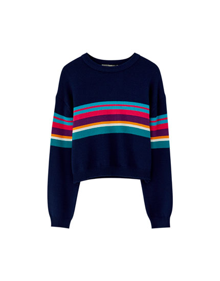 Multicoloured colour block sweater