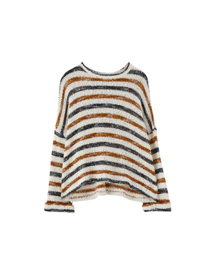 Striped raglan sleeve sweater