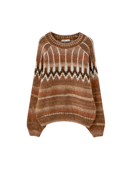 Brown sweater with a jacquard yoke