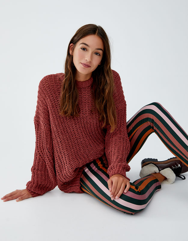 Pulover Oversize Din Chenille by Pull & Bear
