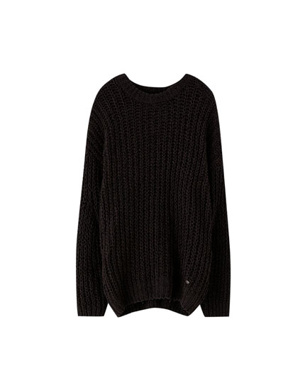 'Oversize' stila šenila džemperis